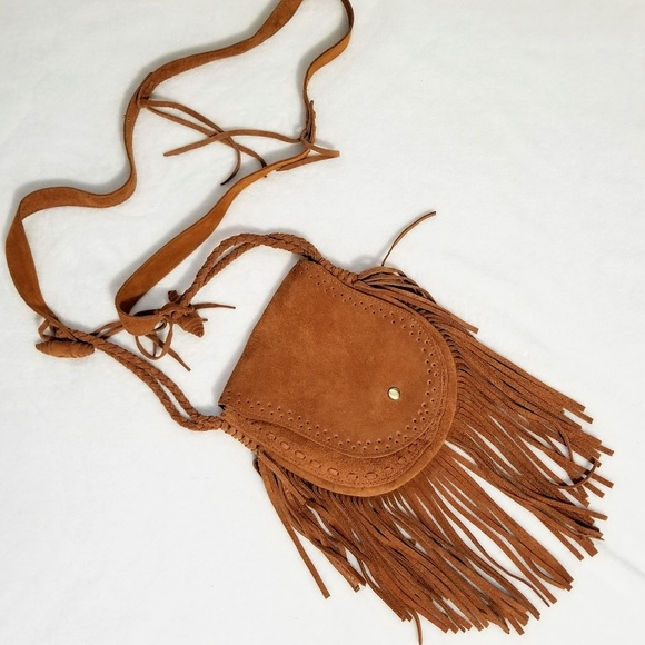 unknown Handbags - Suede leather tooled cross body purse bag